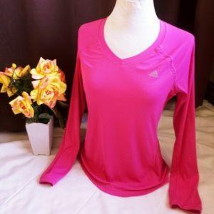 🎀 Adidas Clima Cool hot pink long sleeve top 🎀